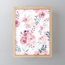Pink Watercolor Florals I Framed Mini Art Print