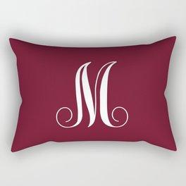Monogram Letter M on Dark Maroon Rectangular Pillow