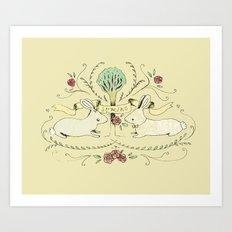 Spring Folk Art Art Print