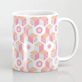 Retro floral geometric cube mosaic. Coffee Mug