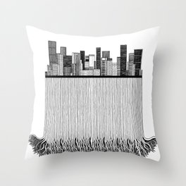 City with roots Throw Pillow