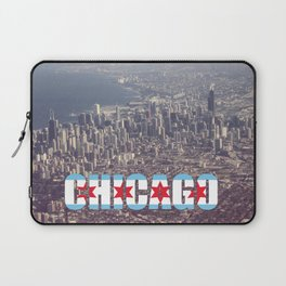 Chicago City Flag Architecture Downtown Color Text Font Type Photography Laptop Sleeve