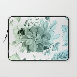 Simply Succulent Garden in Turquoise Green Blue Gradient Laptop Sleeve
