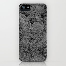 Circle Floral Line Drawing iPhone Case
