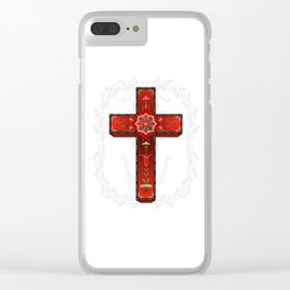 Red decorative cross Clear iPhone Case