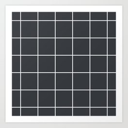 Minimal grid pattern on dark lava Art Print