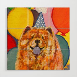 Chow Chow with Balloons Wood Wall Art