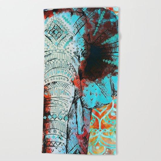 Indian Sketch Elephant Beach Towel