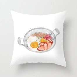 Watercolor Illustration of breakfast in Thailand - Pan-fried egg with sausage  Throw Pillow