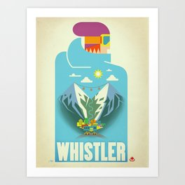 """Vintage Whistler """"Blue Bird"""" Travel Poster Art Print"""