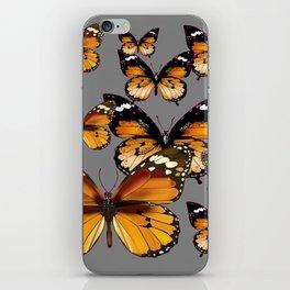 DECORATIVE BUTTERSCOTCH & TOFFEE BROWN BUTTERFLIES ART iPhone Skin