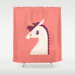 Minimal Unicorn Shower Curtain