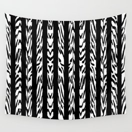 Tribal Black and White Tiger Stripe Pattern Wall Tapestry