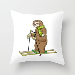 Sloth with scarf as skier with skis Throw Pillow
