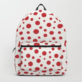Red circles of different sizes over beige background Backpack