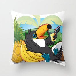Tropical toucan Throw Pillow