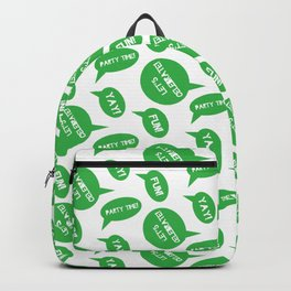 CELEBRATION PARTY TIME BRIGHT GREEN SPEECH BUBBLES GOOD TIMES Backpack