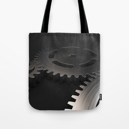 Set of metal gears and cogs on black Tote Bag