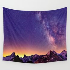 Sunset Mountain #stars Wall Tapestry