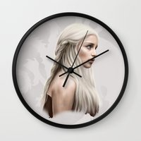daenerys Wall Clocks featuring Khalessi by Jason Cumbers