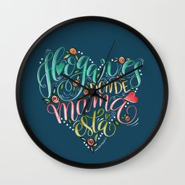 Lettering Quote - Home is where mom is - Hogar es donde está mamá   Wall Clock