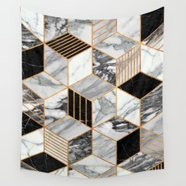 Marble Cubes 2 - Black and White Wall Tapestry