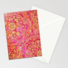 Hot Pink and Gold Baroque Floral Pattern Stationery Cards