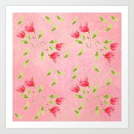 magnolia flowers on pink background Art Print