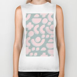 Memphis Pattern - Gemetrical  Retro Art in Pink and Mint -  Mix & Match With Simplicity Of Life Biker Tank