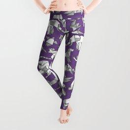 origami animal ditsy purple Leggings