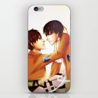 levi iPhone & iPod Skins featuring Levi x Eren by TEAM JUSTICE ink.