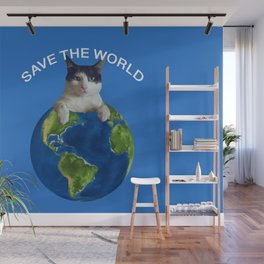 Save the world black and white cat Globus Wall Mural