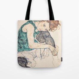 SEATED WOMAN WITH BENT KNEE - EGON SCHIELE Tote Bag