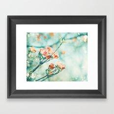 Teal Peach Coral Flower Photography, Aqua Turquoise Orange Dogwood Floral Nature Art Framed Art Print