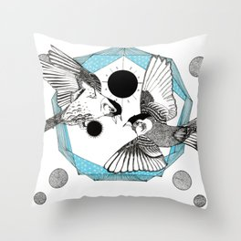The Birds and the Prism - Ink artwork Throw Pillow