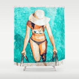 Pool Fashion #painting #fashion Shower Curtain