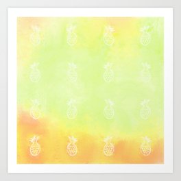 Pineapple Party 1 (Green) Art Print