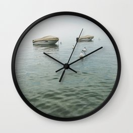 Boats in the lake Wall Clock