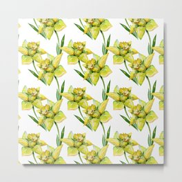 Spring hand painted yellow green watercolor daffodils floral Metal Print