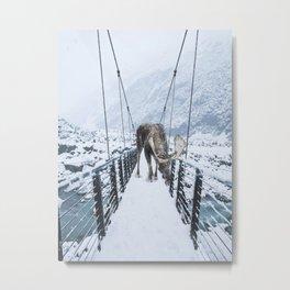 Moose on a Bridge in Winter Metal Print