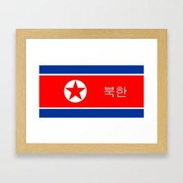 north korea country flag korean name text Framed Art Print