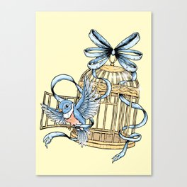 Bird with Cage Canvas Print
