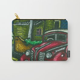 Old house and classic car in Wellington NZ - Oil pastels Carry-All Pouch
