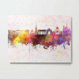 Saint Petersburg skyline in watercolor background Metal Print