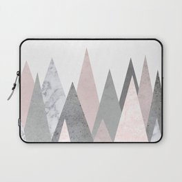BLUSH MARBLE GRAY GEOMETRIC MOUNTAINS Laptop Sleeve