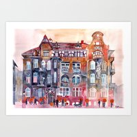 takmaj Art Prints featuring Apartment House in Poznan and orange umbrellas by takmaj