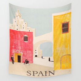 Spain Vintage Travel Poster Mid Century Minimalist Art Wall Tapestry