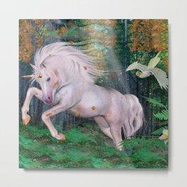 Unicorn Wood Forest Magic Stars Autumn Bird Metal Print