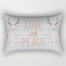 Love and Peace Knitting Deer Winter Christmas Art Rectangular Pillow
