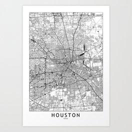 Houston White Map Kunstdrucke
